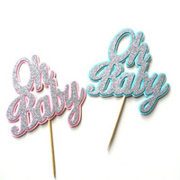 Oh Baby Cake Topper - Silver or Gold Glitter Baby Cake Topper - Pink or Blue Baby Shower Decor // Gender Reveal Party Decoration
