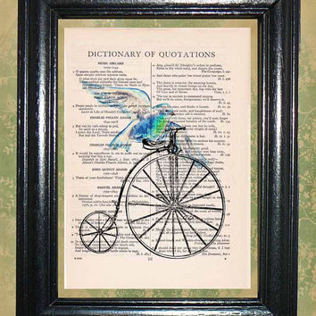 Blue Sea Bird Riding an Antique Bicycle - Vintage Dictionary Book Page Art Beautiful Upcycled Page Art Wall Decor Art Print
