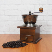 Antique Coffee Grinder Manual Operation Dark Wood and Aged Pewter Rustic Farmhouse Kitchen
