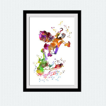 Captain Hook art watercolor print Captain Hook colorful poster Peter Pan Disney decor Home decoration Kids room decor Nursery room art W513