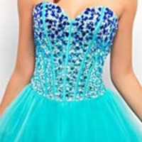 Royal & Aqua Ombre Rhinestone & Tulle Lace Up Short Prom Dress - Unique Vintage - Prom dresses, retro dresses, retro swimsuits.