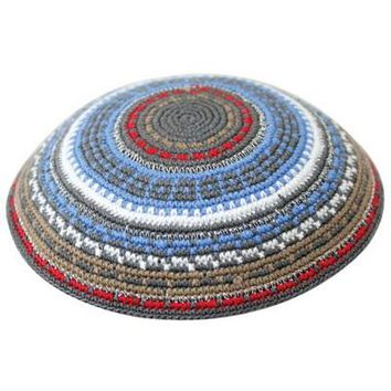 C D.M.C. Kippah 15 Cm- Gray With Blue And Brown