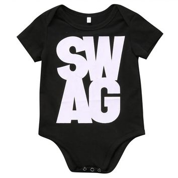 SWAG Graphic Black Romper for Newborns