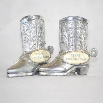 Silver Cowboy Boot Salt and Pepper Shaker Set by thedapperapple