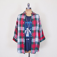 Green & Red Plaid Shirt 90s Plaid Flannel Shirt 90s Flannel Oversize Shirt Plaid Boyfriend Shirt 90s Grunge Shirt Seattle Men Women S M L Xl