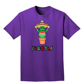 Fiesta Cactus Poncho Text Adult Dark T-Shirt