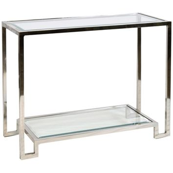 Lyle Console Table with Beveled Glass Shelves | Silver