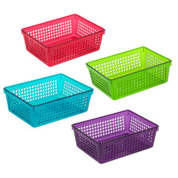 Bulk Colorful Rectangular Slotted Plastic Storage Baskets at DollarTree.com