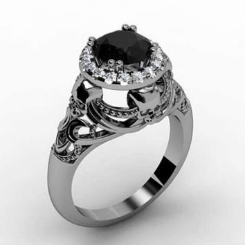 Skull Engagement Ring Black Diamond Platinum 950