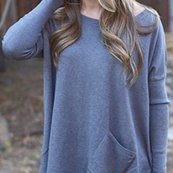 Blue Loose Asymmetrical Shirt With Pocket