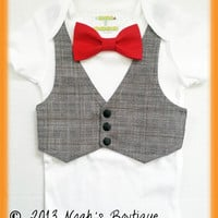 Cute Baby Boy Clothes - Houndstooth Vest Red Bow Tie - Easter Baby Clothes - Baby Boy Outfits - Newborn Boy Clothes - First Birthday Outfit