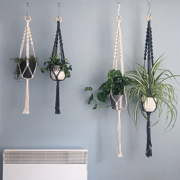The Spiral Crown Macrame Plant Hanger // Natural Cotton // in 2 sizes // Natural Cotton, Black or Grey