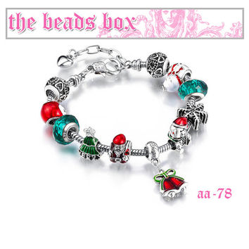 AA-73-78 Santa Claus Charm Bracelet 925 Sterling Silver Murano Glass & Crystal Beads + Free Shipping