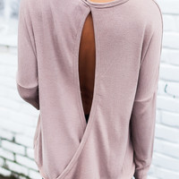 Taupe Knit Open Back Long Sleeve