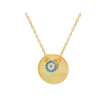 "Fronay Collection Mini Glimmering Evil Eye Disc Pendant Necklace in Gold Plated Sterling Silver: Length 16"" + 2"""