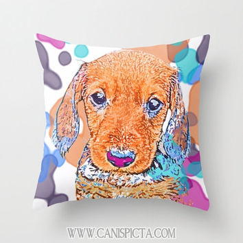 Dachshund Puppy 16x16 Graphic Print Throw Pillow Cover Doxie Dach Doxies Whimsical Pastel Pet Dog Baby Virbrant Pink Purple Orange Blue Teal