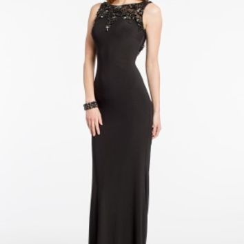 Scroll Beaded Dress with Illusion Neckline