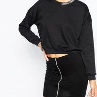 Criminal Damage Cropped Sweatshirt With Neck Logo