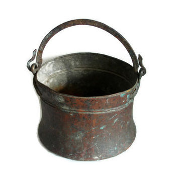 Vintage Turkish copper CAULDRON PRIMITIVE antique pail - LARGE, heavy, rugged pot Wrought iron handled old ice bucket, Garden planter decor