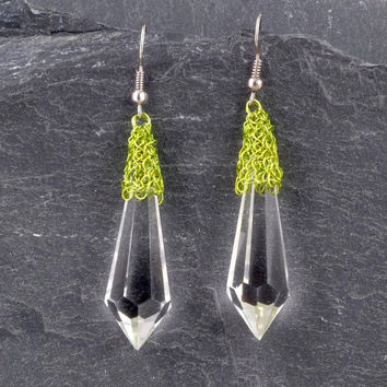 Chartreuse Earrings, Clear Prism Crystal Earrings, August Birthstone, Bridesmaid Gift
