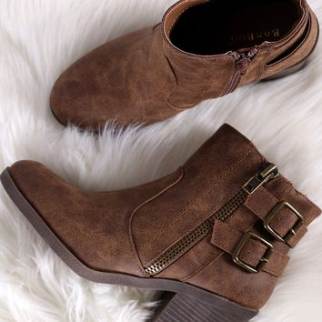 Bamboo Almond Toe Buckled Stacked Chunky Heel Booties