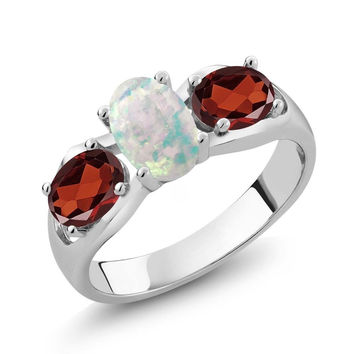 1.63 Ct Oval Cabochon White Simulated Opal Red Garnet 925 Sterling Silver Ring
