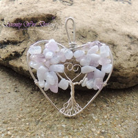 Heart Shaped Blue Lace Agate Lilac Amethyst Tree of Life Pendant