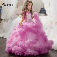 2017 New Long Turquoise Pageant Dresses For Girls Glitz First Communion Puffy Dresses For Kids Prom Pink Flower Girl Dresses