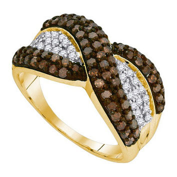 Cognac Diamond Fashion Band in 10k Gold 1 ctw