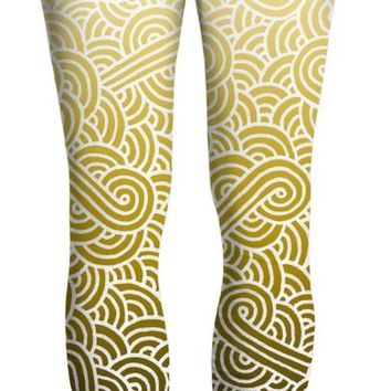 Ombre yellow and white swirls doodles Yoga Pants