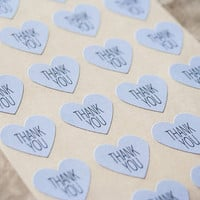 96 Light Blue Thank You Stickers, Heart Stickers, Envelope Labels, Wedding Seals, Gift Wrapping