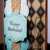 Happy Birthday Card Fleur De Lis Elegant Masculine