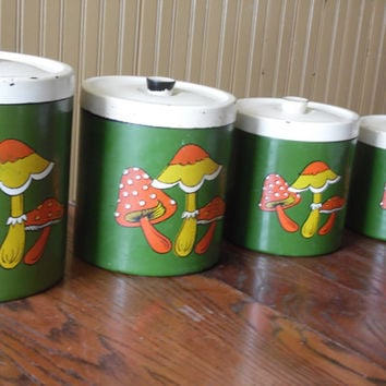 FREE SHIPPING - Mushroom Canisters/Retro Canisters/Mid-Century Containers/Flour and Sugar