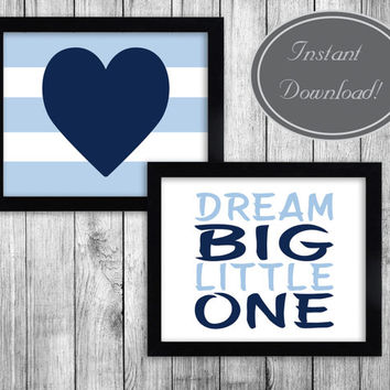 Printable Nursery Art, 'Dream Big, Little One' Dark Blue Heart, Baby Boy Nursery Digital Download, Set of two, Boy's Bedroom Decor