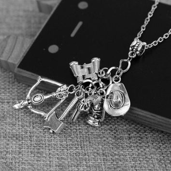 The Walking Dead necklace vintage Zombie hat telescope bow and arrow gun axe water bottle pendant for men and women jewelry