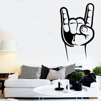 Vinyl Decal Wall Stickers Rock-n-Roll Forever Rock Fingers Sign of The Horn (z1638)