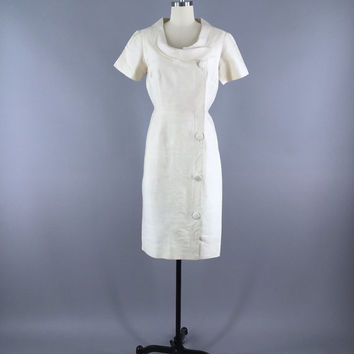 Vintage 1960s Dress / 60s Day Dress / White Thai Silk / Wedding Reception Dress / 1960
