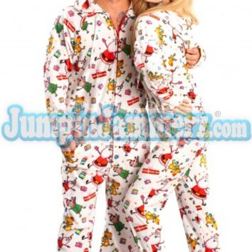 White Santa Baby Hooded Footed Pajamas - Pajamas Footie PJs One Piece Adult Pajamas - JumpinJammerz.com