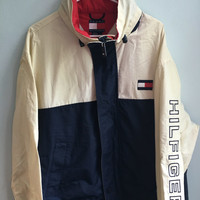 vintage 90s red, white, blue tommy hilfiger jacket / large