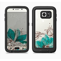 The Vintage Teal and Tan Abstract Floral Design Full Body Samsung Galaxy S6 LifeProof Fre Case Skin Kit