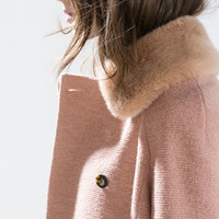 WOOL COAT WITH DETACHABLE FUR COLLAR