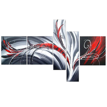 Red Grey Delight Abstract Canvas Wall Art Oil Painting