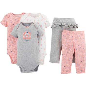 Walmart: Child of Mine by Carter's Newborn Baby Girl Bodysuit and Pants 5-Piece Set