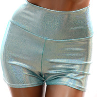Seafoam Holographic High Waist Shorts