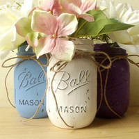 Painted Mason Jars, Three - Hand Painted Mason Jars, Blue, White and Purple Colored Jars