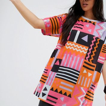ASOS Super Oversized T-Shirt in 80s Aztec Print at asos.com