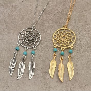 Feather tassel pendant necklace chain sweater