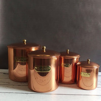 Copper Kitchen Canisters/ Copper Canisters/ Vintage Canister Set/ Copper Kitchen/ Vintage Copper Canisters/ Kitchen Storage/ Copper Pots