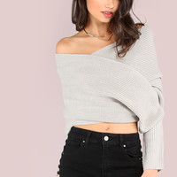 Cross Body Open Shoulder Knit Sweater STONE | MakeMeChic.COM