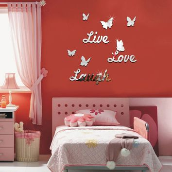 Live Love Laugh Butterfly Wall Mirror Sticker Silver Acrylic Art Decal Mural DIY Modern Home Decor